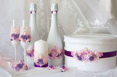 Набор свадебных аксессуаров - купить или заказать в интернет-магазине на Ярмарке Мастеров - FMO8XRU. Уфа | Набор свадебных аксессуаров в фиолетово-розовой…