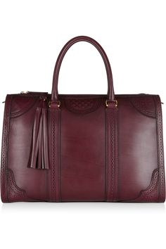 Gucci|Duilio perforated leather tote|NET-A-PORTER.COM #fall #fashion #burgundy