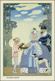 1928 Elizabethan England - The Romance of Perfume by Georges Barbier