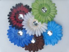 Beautiful Multicolor and pattern hair flowers with by MamaWalkers, $6.00