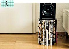 Móvel feito de revistas antigas: sustentável e moderno.  http://www.minhacasaminhacara.com.br/top-5-da-semana-4/#