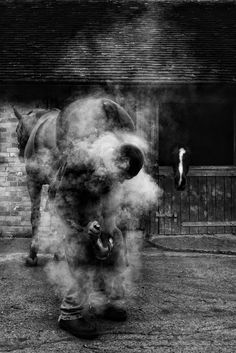 A blacksmith almost disappears in clouds of smoke as he shoes a horse at a farm in East Sussex, England. (Photo and caption by Robert Love)