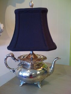 Vintage Silver Teapot Lamp by VintageChicTradingCo on Etsy