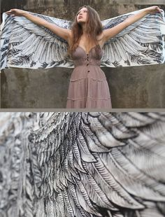 Women scarf Hand painted Wings and feathers in cotton by Shovava, $48.00. Why is this $48? I want it.