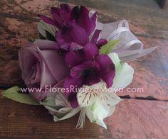 Lavender Plum and white #wristCorsage #weddings #flowers