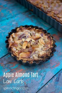 Caramelized Apple Almond Tart Bars (Low Carb) Grain Free Apple Almond Tart Low Carb, Sugar Free, Gluten Free from Spinach TigerGrain Free Apple Almond Tart Low Carb, Sugar Free, Gluten Free from Spinach Tiger Low Carb Dessert, Paleo Dessert, Dessert Recipes, Entree Recipes, Healthy Cake, Healthy Desserts, Caramelised Apples, Gluten Free Grains, Keto Brownies