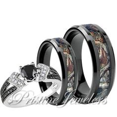 Women 925 Sterling Silver Ring Men Black Tungsten Mossy Forest Oak Camo Band Set