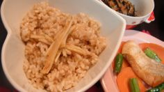 organic brown rice with miso and vinegar pickled Japanese shimarakkyou shallots 有機玄米御飯の島らっきょうの酢みそ漬け添え。