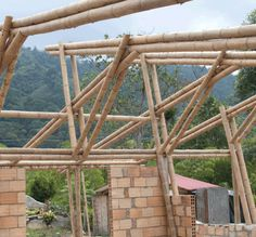 Bamboo construction made with and Guadua canes to create the roof structure from a truss formed by the union of two composite beams (double) with 9 and 12 m length Pergola With Roof, Diy Pergola, Pergola Kits, Bamboo Structure, Roof Structure, Bamboo House Design, Bamboo Building, Bamboo Construction, Bamboo Architecture