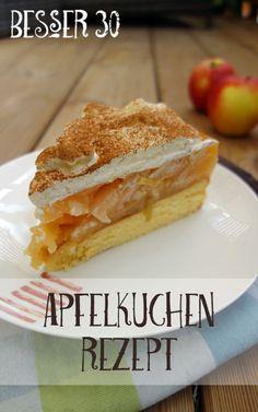 Etwas aufwändigeres Rezept für einen Apfelkuchen mit Biskuitteig, Apfelpudding und Zimt-Sahne. In einer Kuchenform perfekt für den Besuch am Sonntag! #ichbacksmir #apfelkuchen #apple