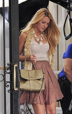 Mulberry Harriet khaki satchel, Brian Atwood Power Studs heels, Rodarte for Opening Ceremony pleated skirt, Haute Hippie feather vest