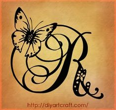 7 monogrammi: lettere A | B | G | K | L | R | S per tattoo | tattoo diyartcraft. Love this with the letter K and have the butterfly colored.