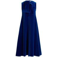 Maison Rabih Kayrouz Sleeveless neck-tie cotton-velvet midi dress ($2,305) ❤ liked on Polyvore featuring dresses, dark blue, royal blue dresses, v neck midi dress, blue necktie, electric blue dress and neck ties