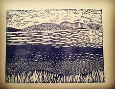 Whilst on holiday recently had a bit of spoilt lino and decided to play with my carving time tools. No blueprint just carving. Final product with some cheap water inks I have for proofing. Highlands. #blockprinting #blockprint #linocut #lino #linoprint #ink #scotland #highlands