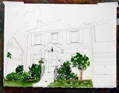 Step-by-step watercolor tutorial for painting your house.