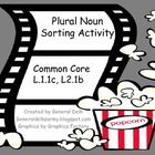 Common Core standards for 1st and 2nd grades included. Students use popcorn to practice sorting plural nouns. Package includes 4 sorting categories...