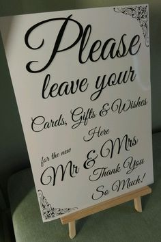 WEDDING SIGN - GIFT TABLE POST BOX WISHING WELL A4