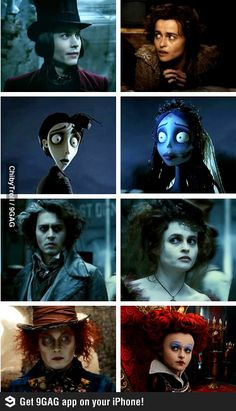 helena bonham carter and johnny depp :) <3 I wish this had all of their movies thoughh