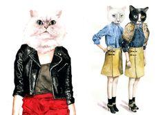 cat fashion illustrations