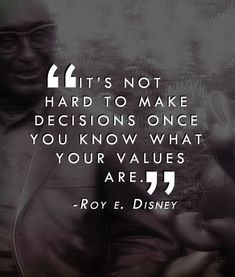It's not hard to make decisions once you know what your values are ~ Roy Disney