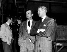 """Joseph Cotten visiting the set of """"Rope"""" (1948)"""