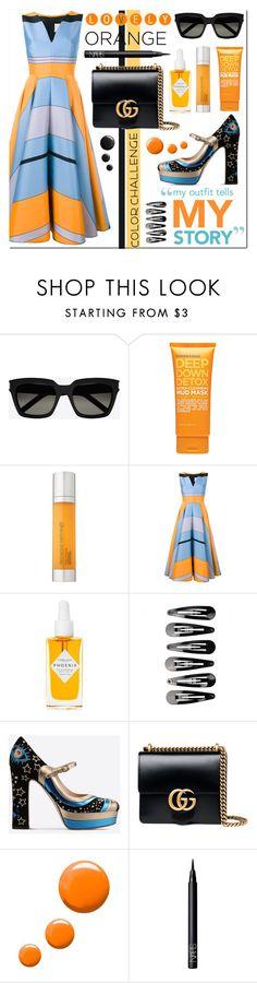 """Color Challenge: Orange and Black"" by asiyaoves ❤ liked on Polyvore featuring Yves Saint Laurent, ULTA, Elemental Herbology, Roksanda, Herbivore, Valentino, Gucci, Topshop, NARS Cosmetics and orangeandblack"