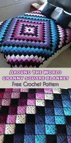 Around the World Granny Square Blanket Free Crochet Pattern #freecrochetpatterns #crochetblanket #grannysquare