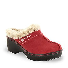 Comfy Husker-red leather fur-lined clogs.  These are Crocs? Really?