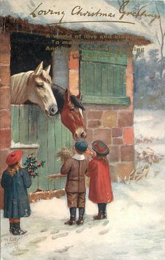 three children in front of horse barn, boy and girl at right feeding horse