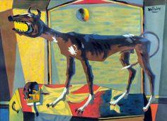 Le chien de garde (c. 1952) - Jean DALLAIRE Philippe, Oeuvre D'art, Artwork, Painting, Canadian Art, Guard Dog, War, Artists, Contemporary