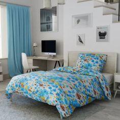 Krepové povlečení modré bílé zelené hnědé růže květiny květy přírodní zahrada Comforters, Blanket, Bed, Furniture, Home Decor, Creature Comforts, Quilts, Decoration Home, Stream Bed