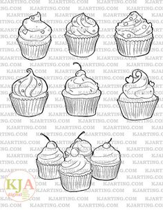 Cupcakes Baking Sweets Icing Cherries Hearts Candy Cute Food Desserts Digital Stamp Set ( Digi-Stamp 023)
