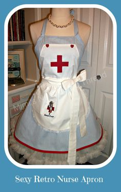 Sexy Retro Nurse handmade apron by mimisneedle on Etsy