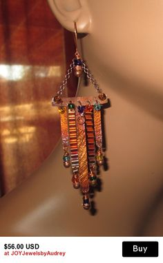 SOLD! Colorful Copper And Glass Metalwork Wire Wrap Wind Chime Earrings, Carnival,Tribal,Boho