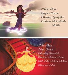 Ariel and Belle name meanings + origins!