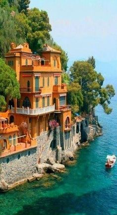 Seaside villas near Portofino, Italy • photo: Dan Breckwoldt on FineArtAmerica