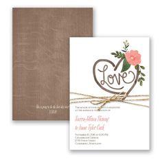 Country Chic - Wedding Invitation - Western, Roses, Desert, Wood Grain at Invitations By David's Bridal