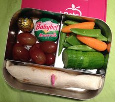 #lunchbots trio vegetarian bento lunch - pb&j tortilla roll up, Babybel cheese, fresh fruit and veggies