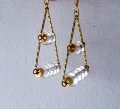 Tri  #handmade #Jewelry #Jewellery #earrings #brass #Etsy #geometric #ALittleDot