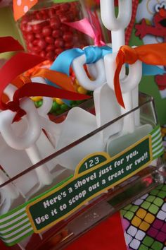 """Here's a shovel just for you. Use it to scoop out a treat of two!""- great for a candy buffet setup!"