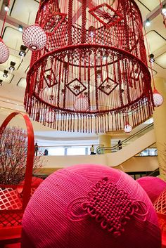 giant macrame chandelier installation, Pacific Place, Hong Kong | n a t a l i e m i l l e r