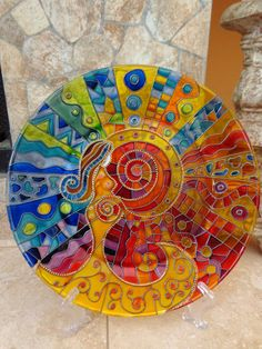 Birth. Glass Plater.  Hand painted glass. by OrdinaryWWonders