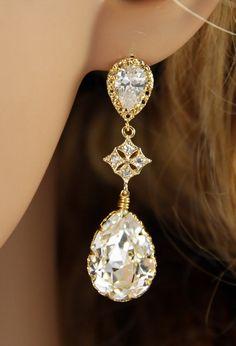 Cubic Zirconia Swarovski Teardrop Crystal Earrings, Bridal Jewelry Earrings, Bridesmaid Earrings, Champagne Gold Wedding Jewelry, www.glitzandlove.com