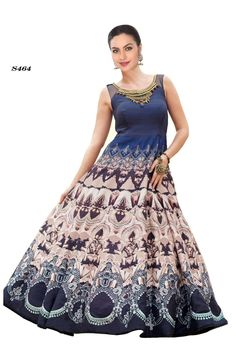 Price @5100.00 INR  Colour : Blue  Fabric : Raw Silk  Work : Round Neck, Sleeveless, Printed And Embroidered  Digital Printed Blue Designer Dress With Zari Work On Bodice.