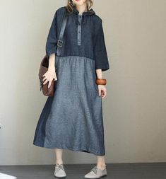 Casual Hoodie Quilted Blue Denim Maxi Dresses For Women - Woman Dresses Blue Denim Dress, Denim Maxi Dress, Plaid Dress, Shirt Dress, Denim Dresses, Blue Maxi, Women's Dresses, Dresses With Sleeves, Sleeve Dresses