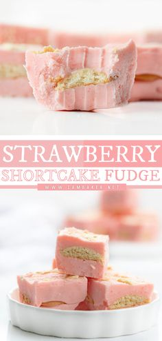 Strawberry Shortcake Fudge is an easy dessert idea that starts with two layers of strawberry fudge with vanilla wafers nestled between and topped with crushed wafers. These simple sweet treats taste like strawberry milk! Save this pin for later! Elegant Desserts, Desserts For A Crowd, Fancy Desserts, Beautiful Desserts, Best Dessert Recipes, Strawberry Milk, Strawberry Shortcake, Easy Impressive Dessert, Fudge