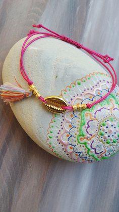 Boho tassel bracelet. Gold cowrie shell bracelet. Tassel bracelet. Bohemian bracelet. Love the stone toob