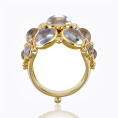 Temple St Clair 18K Bombe Ring with Royal Blue Moonstone and diamond