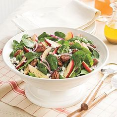 Spinach-Apple Salad With Maple-Cider Vinaigrette Recipe | MyRecipes.com