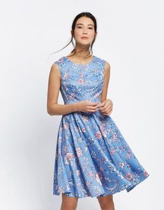 63e7fcbe87 AMELIE Woven Dress. Joules US AMELIE Womens Woven Dress Blue Indienne Floral